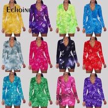 Echoine kadın V boyun seksi 12 zodyak Onesies tulum pijama Romper Bodycon bayan rahat tulum şort Leotard ev giyim