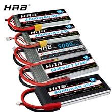 HRB RC Lipo батарея 2S 7,4 v 5000mah 6000mah 3300mah 2200mah 2700mah 2600mah 1800mah 4200mah 22000mah батарея для радиоуправляемого дрона