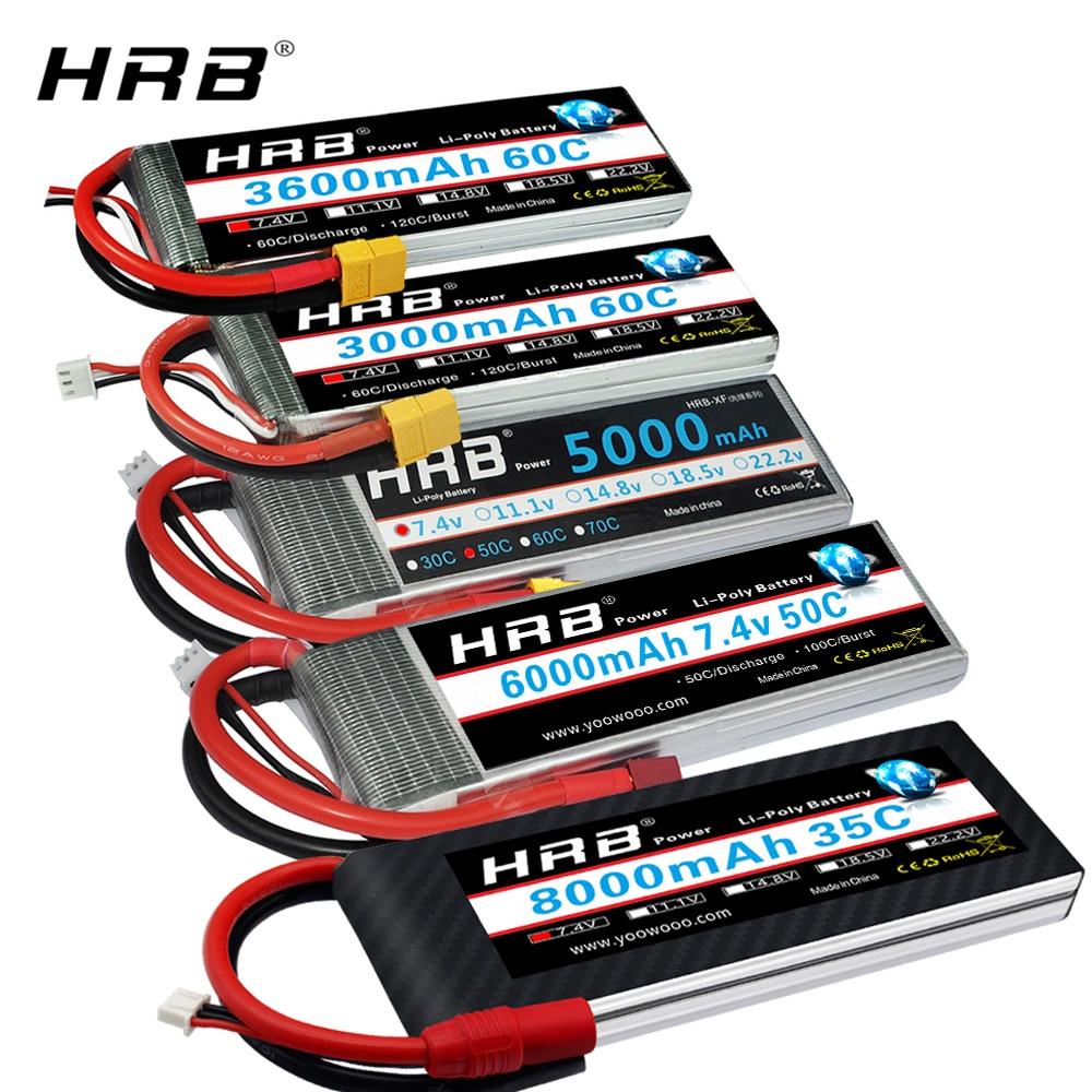 HRB RC Lipo Battery 2S 7.4v 5000mah 6000mah 3300mah 2200mah 2700mah 2600mah 1800mah 4200mah 22000mah Battery For RC Car Drone