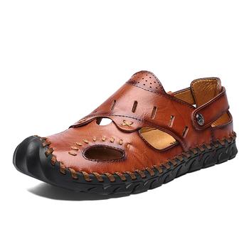 Letnie skórzane sandały męskie odkryte plażowe sandały płaskie wygodne modne męskie oddychające wodne buty trekkingowe 2020 duże rozmiary tanie i dobre opinie ENLEN BENNA Skóra Split Podstawowe NONE LEISURE RUBBER Slip-on Mieszkanie (≤1cm) Pasuje prawda na wymiar weź swój normalny rozmiar