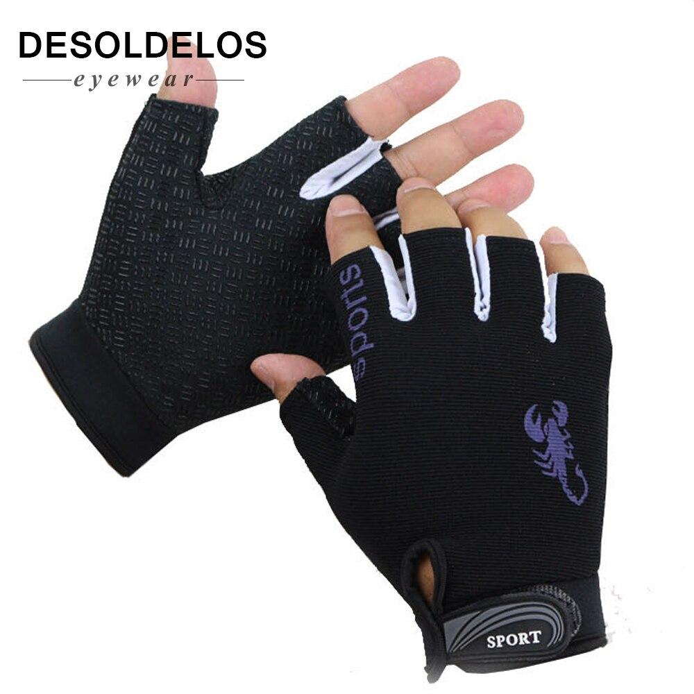DesolDelos Fingerless Gloves Men Women Half Finger Driving Gloves Sport Non-slip Breathable Guantes Mitten For Male Luvas