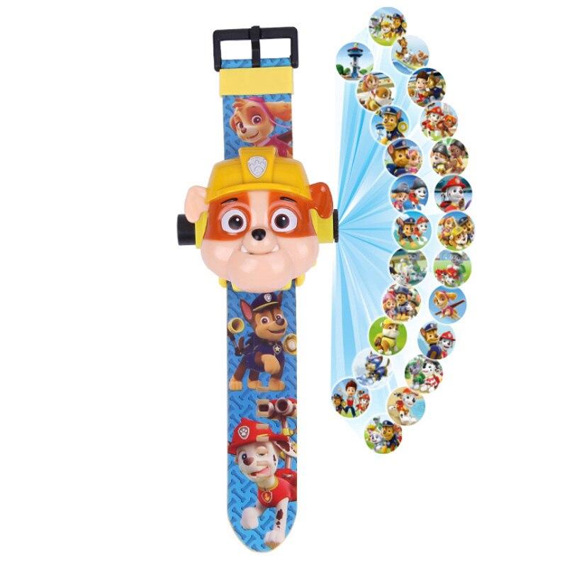 Paw patrol игрушки набор 3D проекционные часы фигурка на день рождения Аниме Фигурка Patrulla Canina игрушка подарок - Цвет: 2