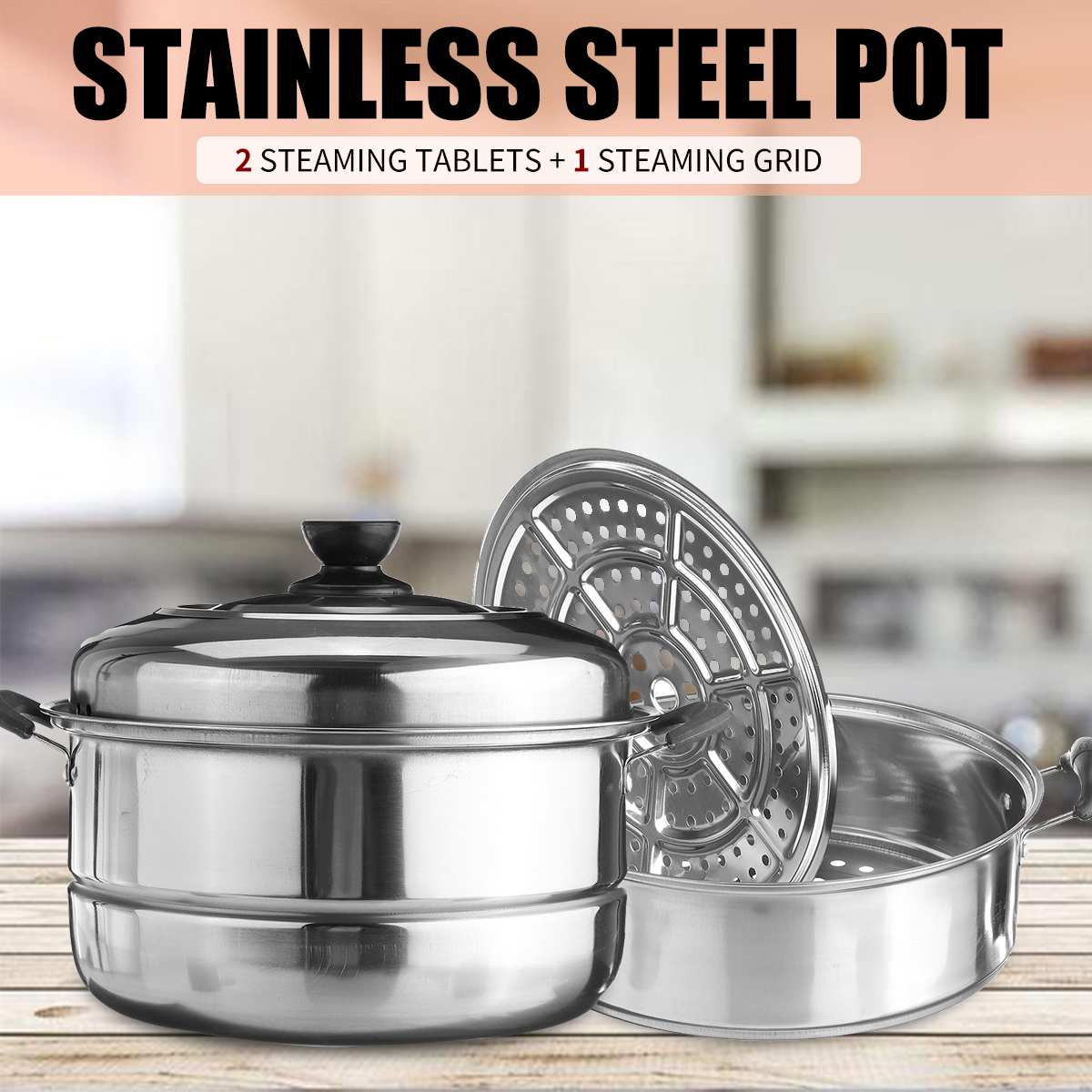 Steamer Pot Cooking-Pots Gas-Stove Induction-Cooker Soup Thick for Three-Layer Universal