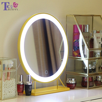 Makeup Mirror with LED Light Desktop Cosmetic Mirror Nordic Style Large Vanity Mirrors Tabletop Stand Bathroom Wall Mirrors