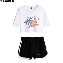 The Hype House Women Crop Top Two Piece Set Shorts+lovely T-