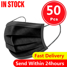 50pcs 3ply Mask Black Mouth Cover Protect Mouth Nose Soft And Breathable Protection Facemask Mascarilla Mouth-muffle Face Cover