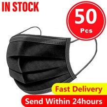 50 pçs 3ply máscara de boca preta capa proteger boca nariz macio e respirável proteção máscara facial mascarilla boca-muffle face cover