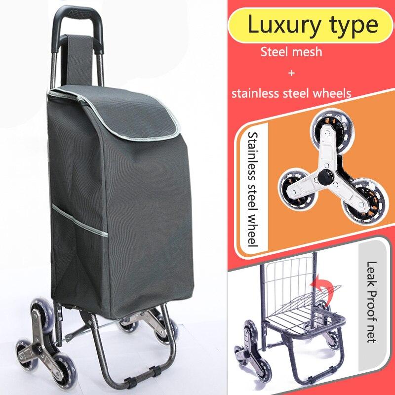 Поднимайтесь вверх, тележка для покупок, большие товары, товары, чехол на колесиках, складная тележка для прицепа, бытовая Портативная сумка для покупок, женская сумка - Цвет: High version 3