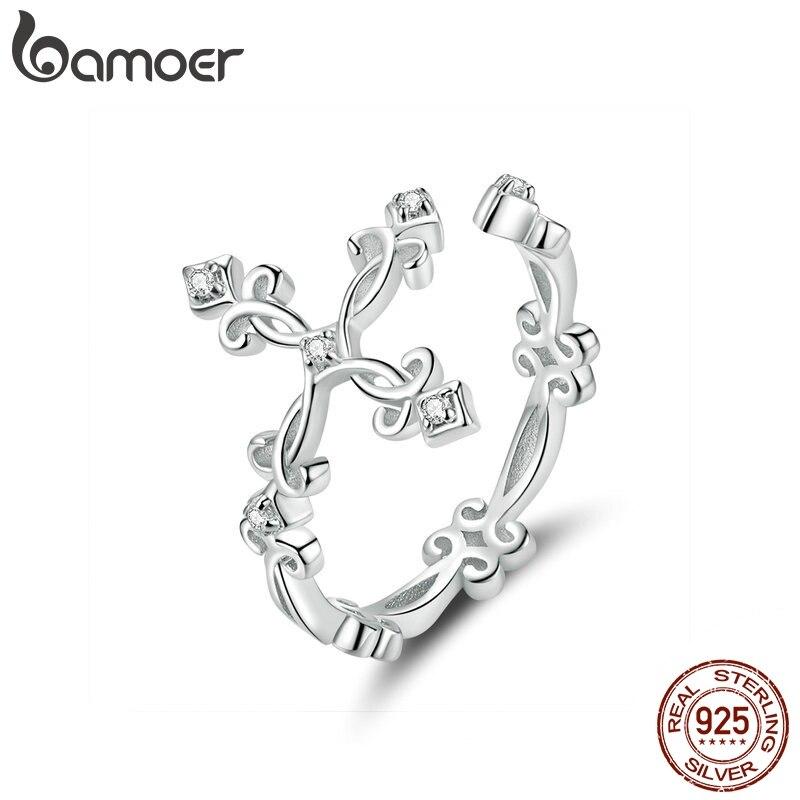 Bamoer Retro Pattern Cross Adjustable Finger Ring For Women 925 Sterling Silver Vintage Flower Rings Silver Bijoux BSR041