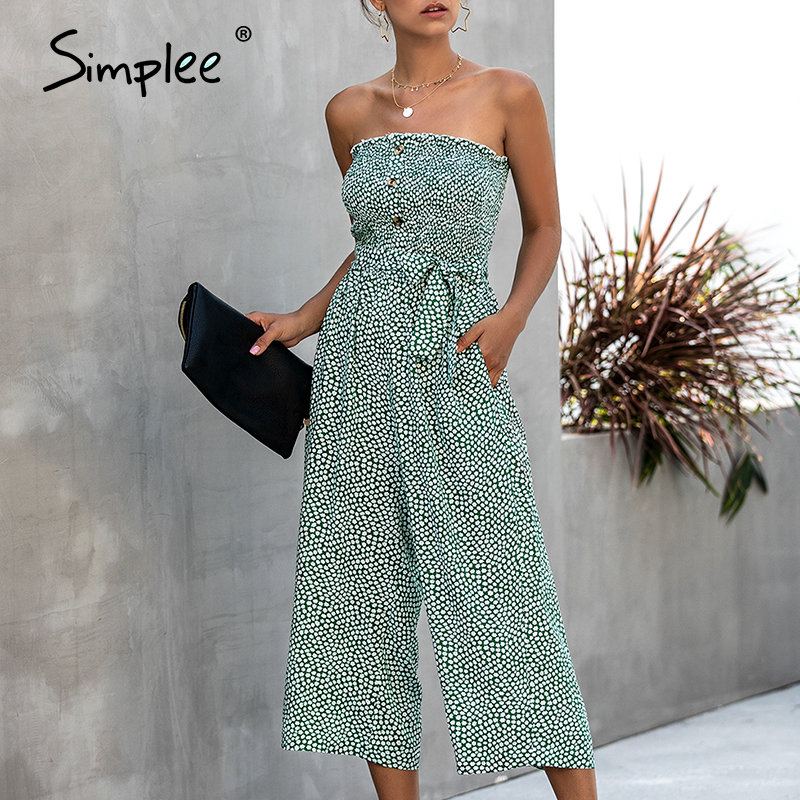 Simplee Strapless Floral Print Women Jumpsuit High Waist Bow Tie Cotton Jumpsuit Romper Casual Buttons Wide Leg Ladies Overalls