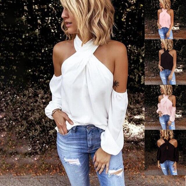GAOKE-blusa blanca con hombros descubiertos para mujer, blusa ceñida, blusa sexy elegante para verano 2021 1