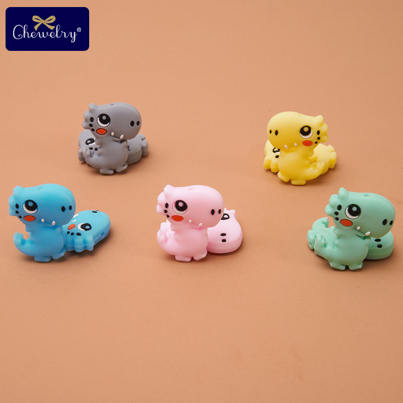 10pcs Mini Dinosaur Baby Silicone Teether Beads Tiny Rod Rodent Teether DIY Necklace Bracelet Pacifier Chain For Kids Products