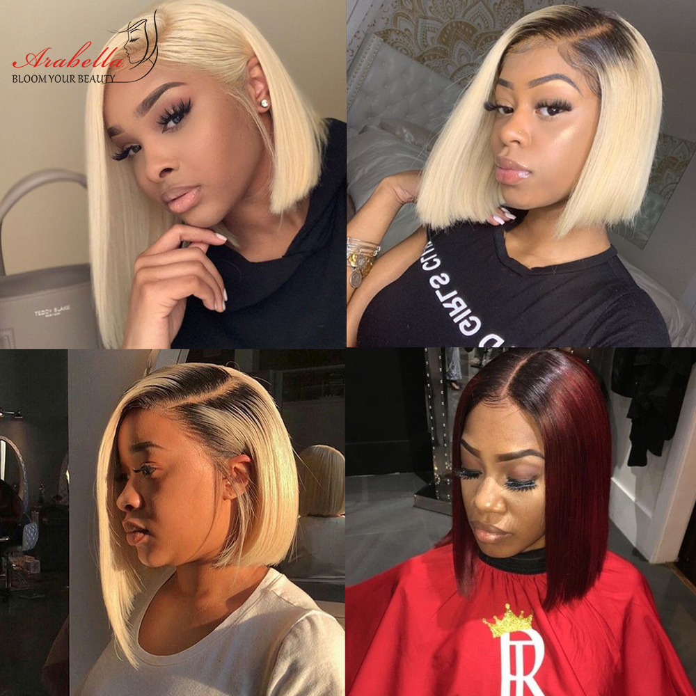 Blonde Straight Bob Wig Lace Front Wig 100%  Wigs 180% Density Arabella   Hair 613 Lace Front Wig Bob 3
