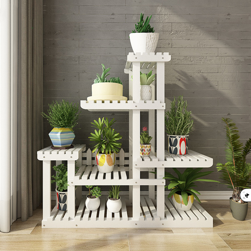 White Flower Airs Multi-storey Indoor Solid Wood Landing Type Shelf Balcony A Living Room Province Space Meaty Flower Rack
