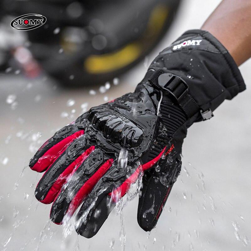 Мотоциклетные ветрозащитные перчатки SUOMY 100%, водонепроницаемые зимние теплые защитные перчатки для сенсорного экрана