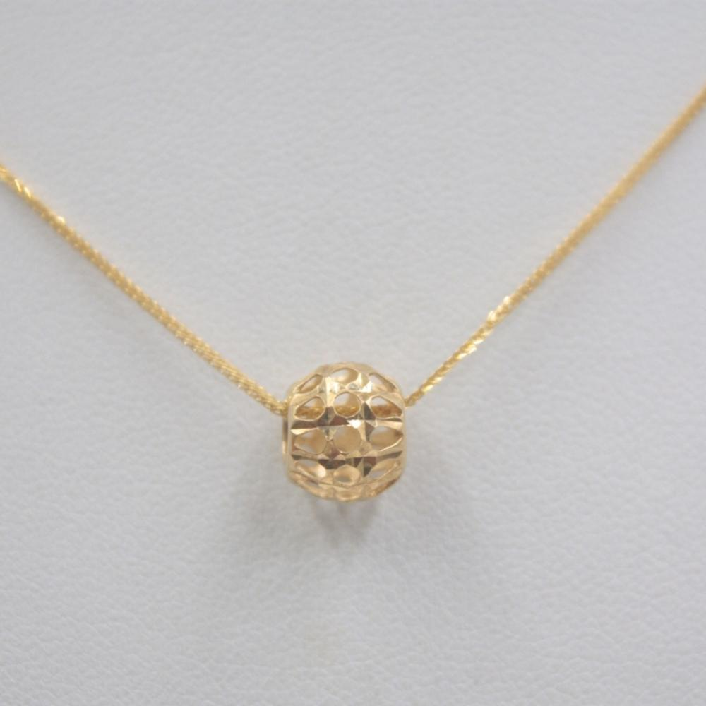 Solid 18k Yellow Gold Pendant Luck Hollow Round Ball / Pure 18k Yellow Gold Wheat Foxtail Chain Necklace 18