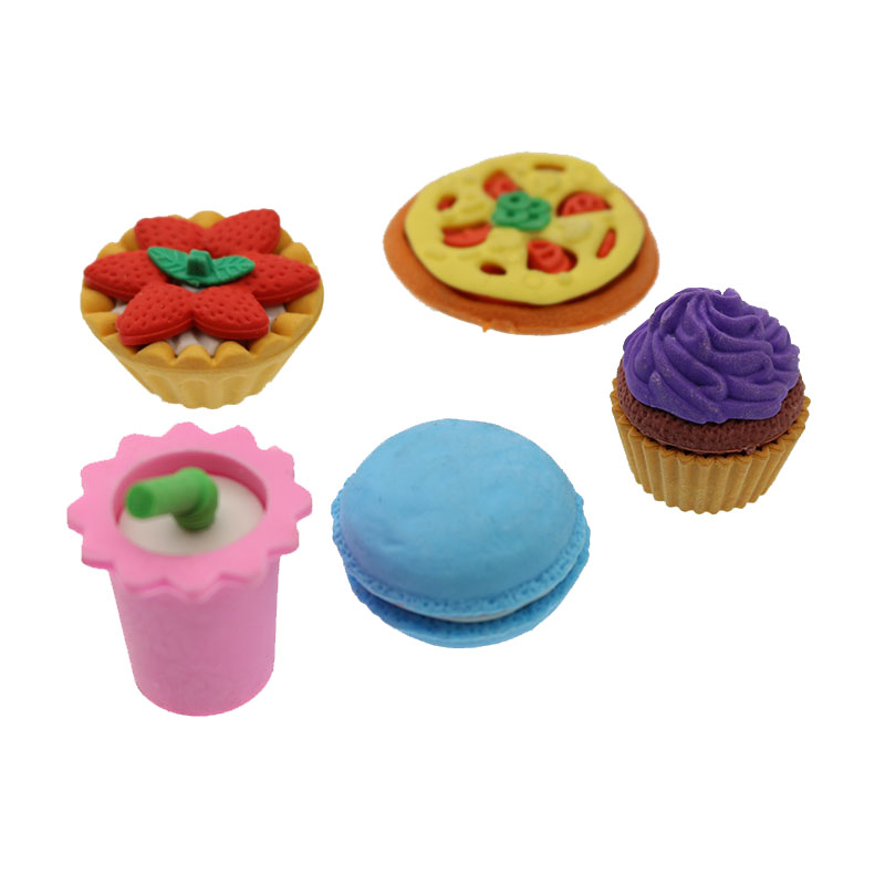 1 Set = 5 Dessert Cake Pizza Macarons Egg Tart Cola Eraser School Office Supplies Student Prize Stationery Gift Cute Rubber