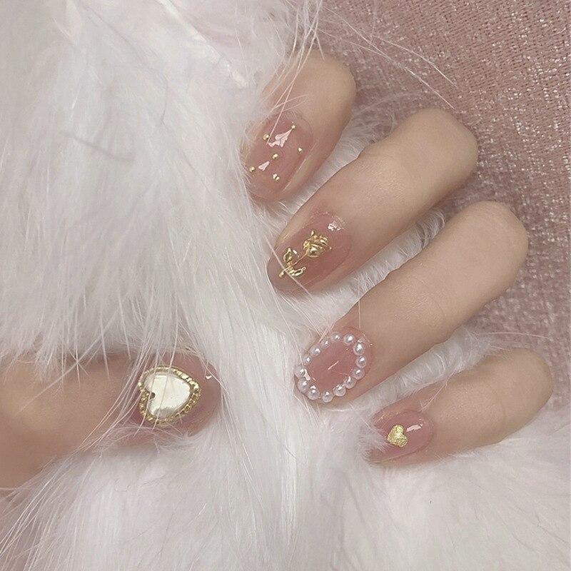 24 шт. милые модные накладные ногти с рисунком РОЗОВОГО СЕРДЦА нажимайте на короткие овальные ногти для леди полное покрытие искусственные н...