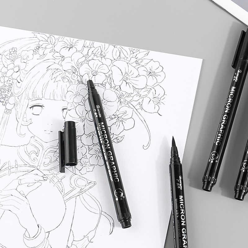 1 pièce Pigment Liner encre marqueur stylo 0.05 0.1 0.2 0.3 0.4 0.5 0.6 0.8 pointe différente noir Fineliner croquis pinceau stylo stylos