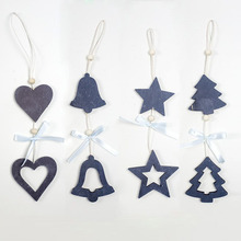 2PCS Creative Bow Christmas Love With Star Pendants DIY Wood Crafts Gift Xmas Tree Ornaments Home Party Decorations