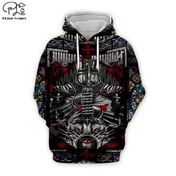 Men Women Knights Templar Print 3d hoodies harajuku Viking  sweatshirt zipper coat Unisex streetwear Jacket Tracksuit pullover 8