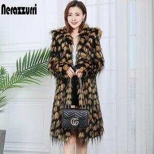 Nerazzurri women's faux fur winter coats with hood long sleeve thicken warm women fashion coats womans plus size faux fur coat(China)