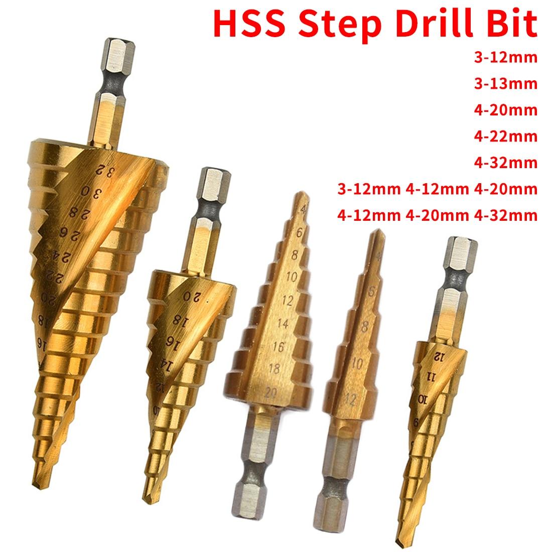 3-13/3-12/4-20/4-32mm HSS Titanium Hex Shank Step Drill Bit Step Cone Cutting Tools Steel Woodworking Metal Drilling Set