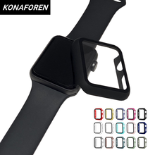 Full cover for Apple Watch series 5 4 3 2 matte Plastic bumper hard frame case with glass film for iWatch 44mm screen protector