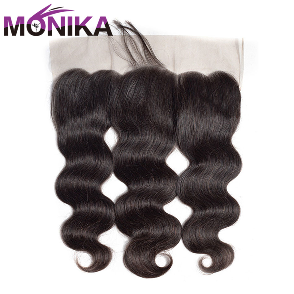 Monika Hair 13x4 Pre Plucked Lace Frontal Closure With Baby Hair Brazilian Body Wave Frontal Closure Non-Remy Human Hair Frontal