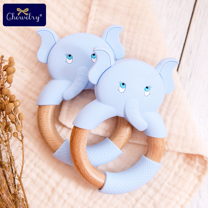 1PC Baby Teether Ring Beech Wooden Rodent Silicone Elephant Teether Stroller Baby Rattle Nursing Bracelet Toys For Baby Product