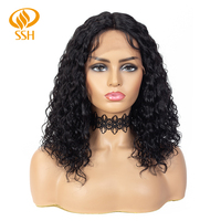 SSH Middle Part Bob Wigs For Black Women Brazilian Remy Real Hair Bob Lace Wigs Pre Plucked Deep Curly Human Hair Black Color