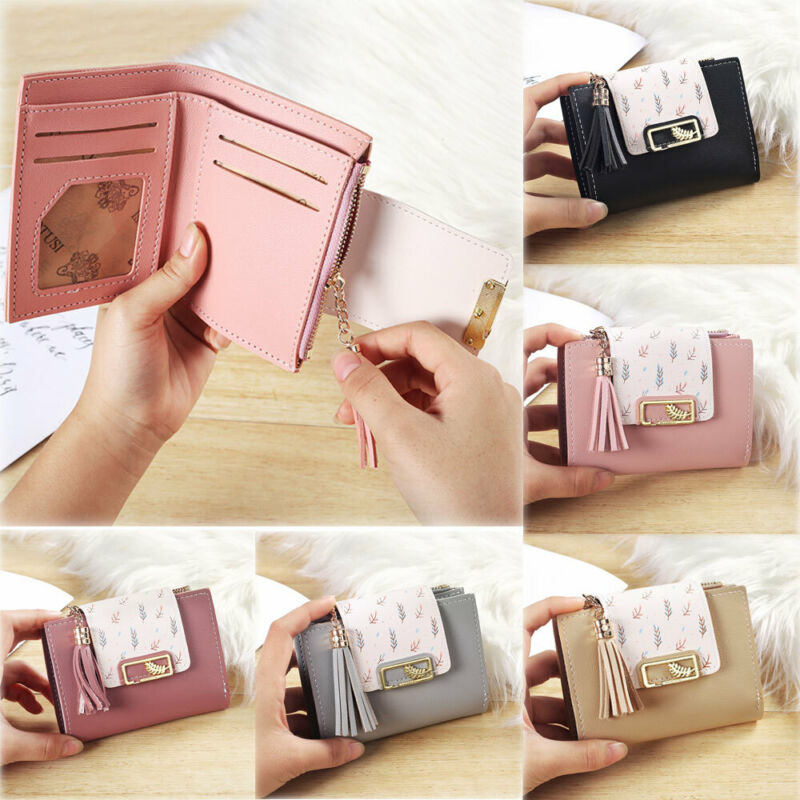 2020 New Women Simple Short Wallet Tassel Coin Purse Card Holders Multi-Position Female Card Wallet Leather Folding Short Wallet