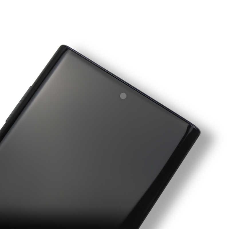 Super amoled lcd para samsung nota 10 n970f display lcd com quadro com digitador da tela de toque para samsung nota 10 n970f
