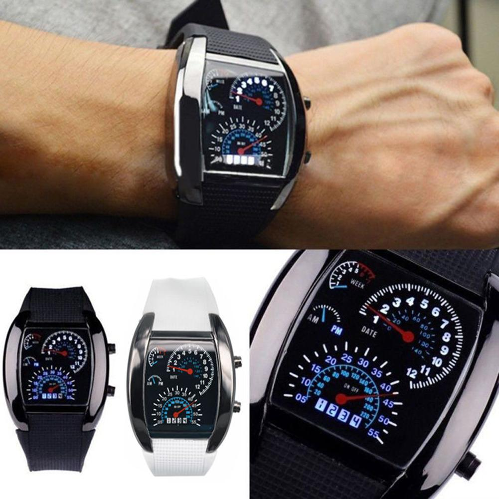 Men Fashion LED Sport Rubber Band Digital Week Date Dashboard Pattern Dial Watch