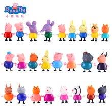 25 pçs conjunto peppa pig 5-10cm estatuetas família pai mãe avô avó george dos desenhos animados anime figura de ação bonecas modelo brinquedo presente do miúdo
