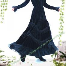 2021 moda Retro Vintage plisowana koronka Tassel szwy czarny złoty aksamit Maxi długie damskie spódnice wzory spódnice damskie tanie tanio Cnguose Poliester Koronki Mesh CN (pochodzenie) Osób w wieku 18-35 lat WOMEN Cnguose2020122 empire Stałe Długość podłogi