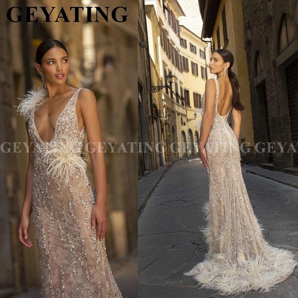 Perles de luxe plumes de sirène robes de bal 2020 Sexy col en v profond dos nu robe de soirée africaine longue robes de Graduation