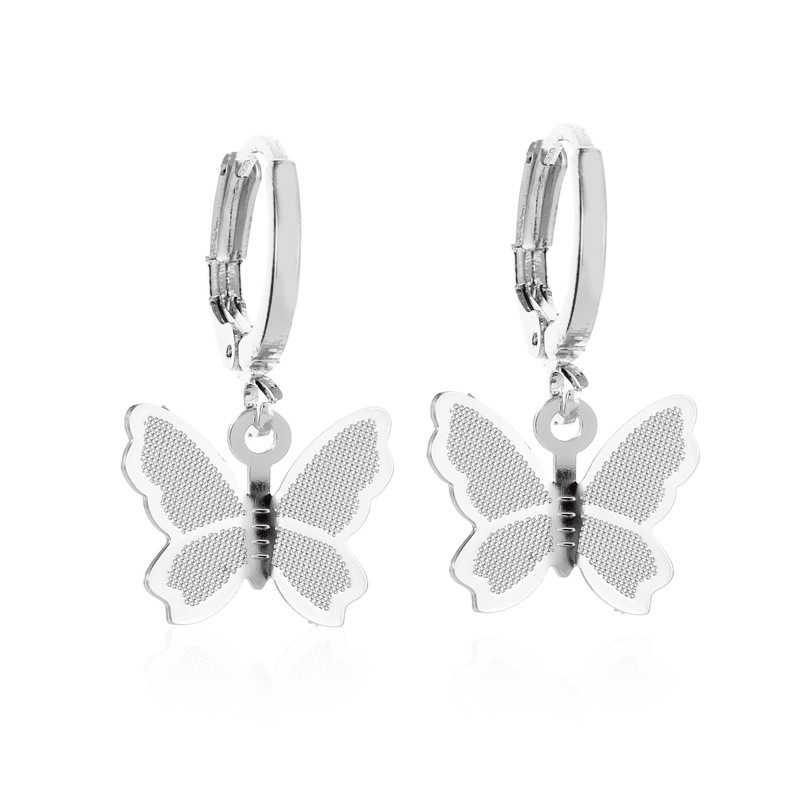 Yobest Stainless Steel Butterfly Drop Anting-Anting untuk Wanita Lucu Serangga Anting-Anting Perempuan Fashion Perhiasan Hadiah