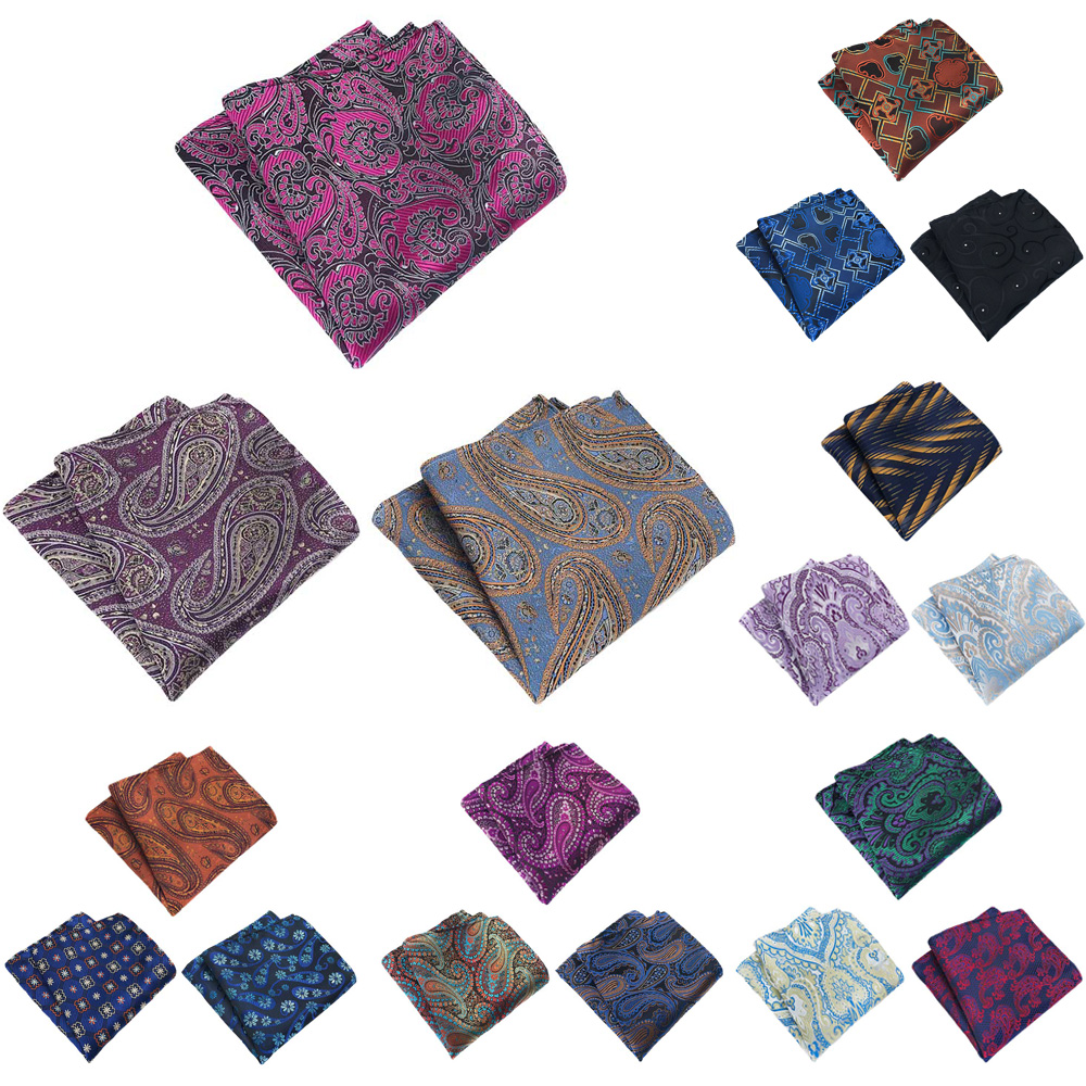 3 Packs Men Flower Paisley Pocket Square Handkerchief Wedding Party Hanky