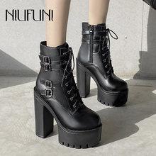 Ботинки с ремешком на щиколотке платформе; Женские модные ботинки