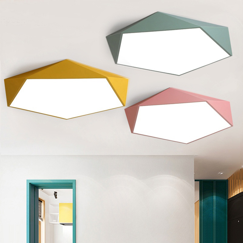 Macaron Color Nordic Geometric Polygon Wrought Iron Led Ceiling Lamp Personality Creative Living Room Bedroom Dining Room Lamp