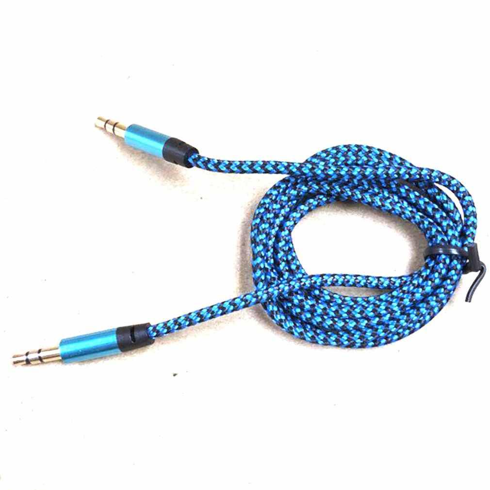Paduan Aluminium Male Ke Male Kabel Audio 3.5Mm Audio Kabel AUX Warna Dikepang Rekaman Line Mobil Universal Kabel