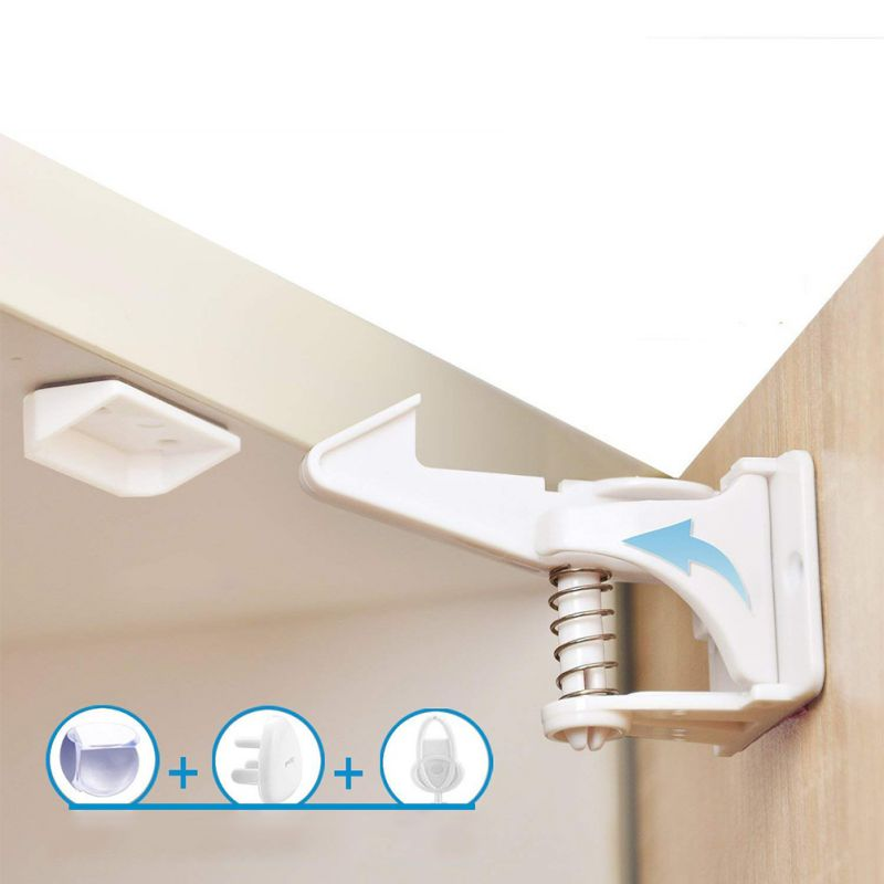 Child Safety Lock Anti-baby Open Invisible Drawer Lock Kitchen Cabinet Lock Child Safety Protective Lock Without Tools