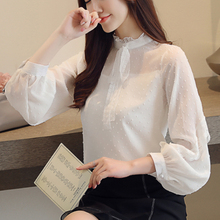 Fashion Autumn Women Blouses Korean Lace Shirt Elegant Chiffon Blouse Shirts Womens Tops and