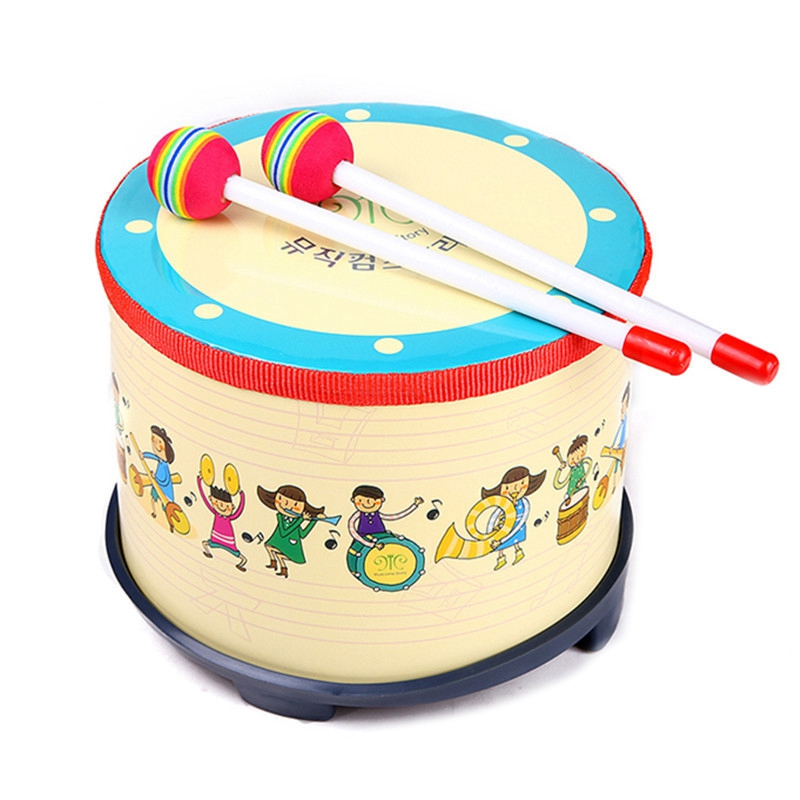 Floor Drum Party Club Carnival Color Percussion Band With 2 Wooden Mallets Musical Drum Toys Gifts For Children