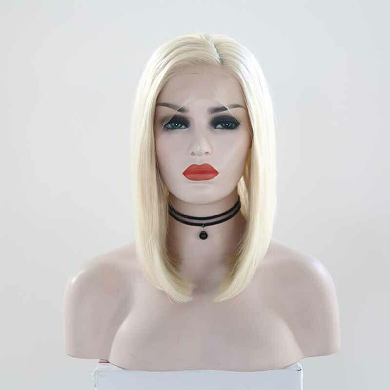 RONGDUOYI Short Bob Synthetic Lace Front Wigs for Women Light Blonde Heat Resistant Fiber Hair Straight Wig with Side Part