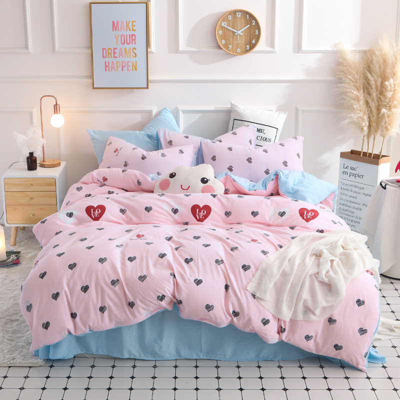 Textiles Girls Kid Teen Fashion Bedding Set Adult Soft Washed Cotton Black White Heart Shaped Duvet Cover Pillowcase Bed Sheet Bedding Sets Aliexpress