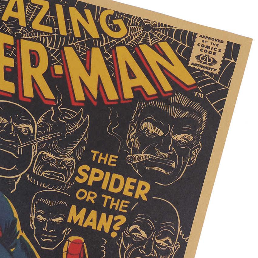 KRAWATTE LER Vintage Kraft Papier Poster Marvel Serie Spinne Mann Comics Poster Jungen Schlafzimmer Studie Dekorative Wand Aufkleber