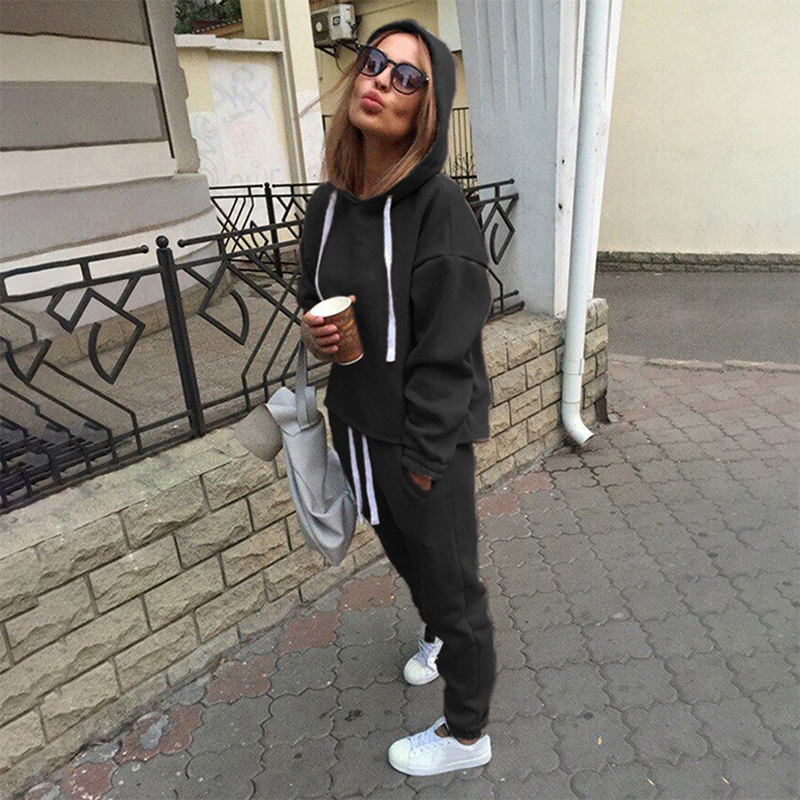 2pcs Women Hoodies Casual Tracksuit Suits Sweatshirt+Sweatpants Set Warm Clothes Sweatsuit Female Soild Color Simple Style Pakistan