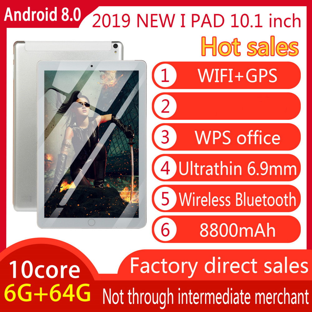 Original 10-inch Full-screen Dual-card Tablet WIFI Andriod 8.0 System Ten-core Large Memory 6G Memory +16/64G ROM Tablet